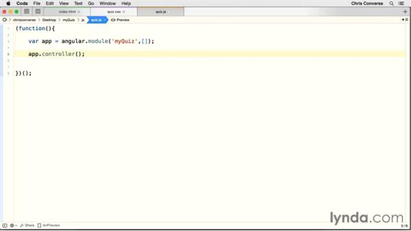 Setting up the AngularJS app and controller: Creating a Quiz with AngularJS 1