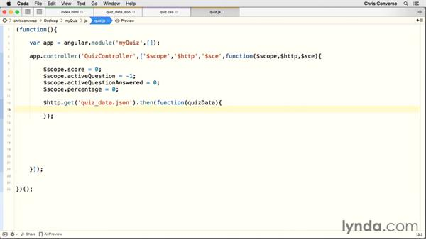 Loading JSON data into our app: Creating a Quiz with AngularJS 1