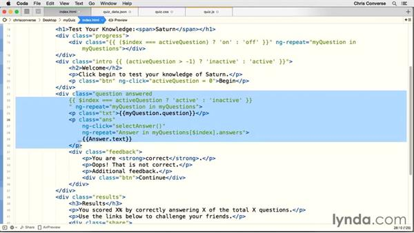 Setting up a custom function: Creating a Quiz with AngularJS 1