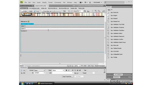 Using a Spry accordion: Dreamweaver CS4 Dynamic Development
