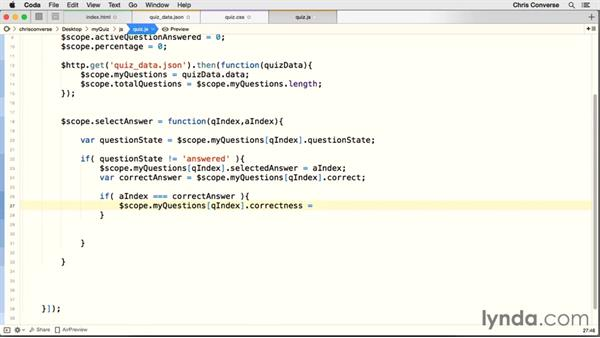 Setting active and answered states for questions: Creating a Quiz with AngularJS 1
