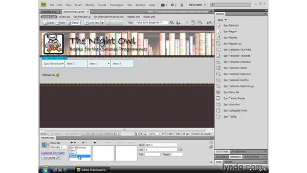 Using a Spry menu bar: Dreamweaver CS4 Dynamic Development