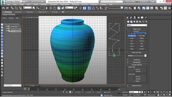 Tracing a spline over the background image: 3ds Max for Design Visualization