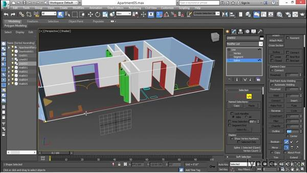 Creating walls with custom-shaped openings: 3ds Max for Design Visualization