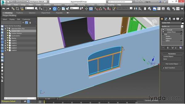 Linking the transforms of the window to the wall opening: 3ds Max for Design Visualization