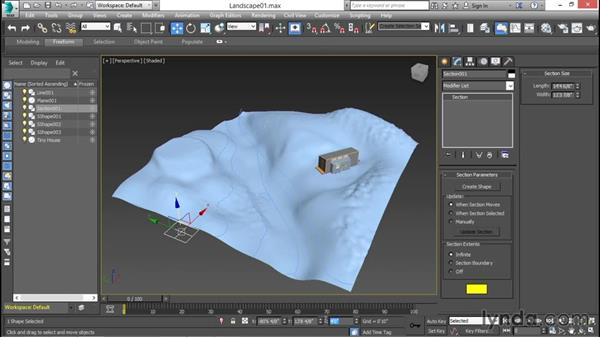 Sectioning a landscape into 2D contours: 3ds Max for Design Visualization