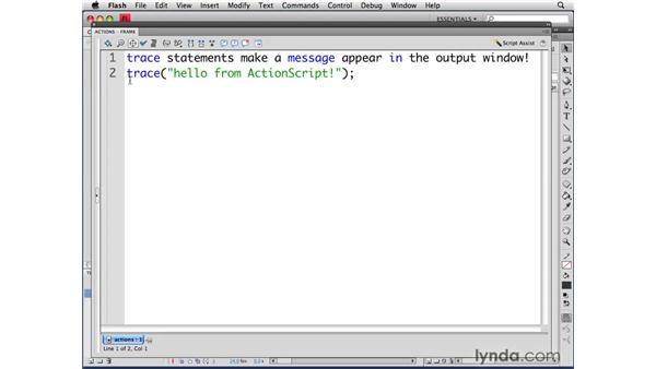 Working with comments: ActionScript 3.0 in Flash CS4 Professional for Designers