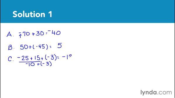 Solution: Add integers: Foundations of Algebra: Pre-Algebra