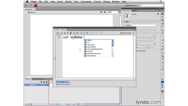 Understanding the syntax of variables: ActionScript 3.0 in Flash CS4 Professional for Designers