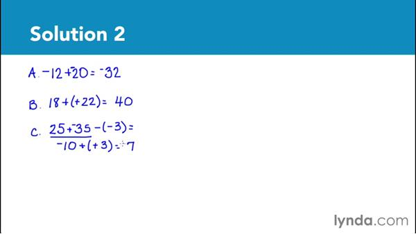 Solution: Subtract integers: Foundations of Algebra: Pre-Algebra