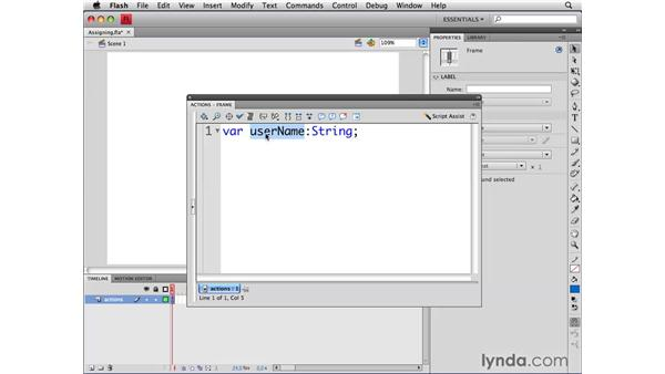 Assigning variable values: ActionScript 3.0 in Flash CS4 Professional for Designers