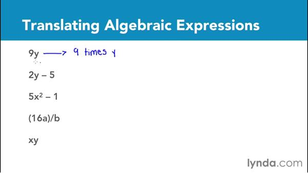 Using variables to translate algebraic expressions: Foundations of Algebra: Pre-Algebra