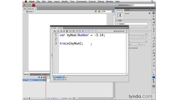 Working with different data types: ActionScript 3.0 in Flash CS4 Professional for Designers