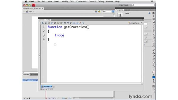 Understanding function syntax: ActionScript 3.0 in Flash CS4 Professional for Designers