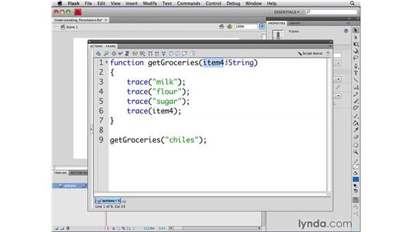 Understanding parameters: ActionScript 3.0 in Flash CS4 Professional for Designers