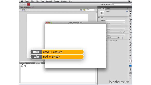 Using local variables: ActionScript 3.0 in Flash CS4 Professional for Designers