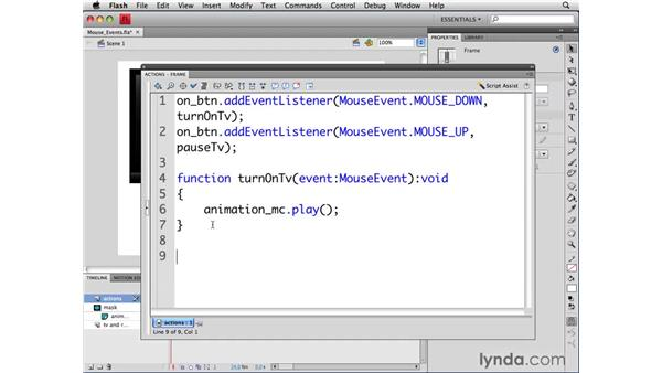 Handling other mouse events: ActionScript 3.0 in Flash CS4 Professional for Designers