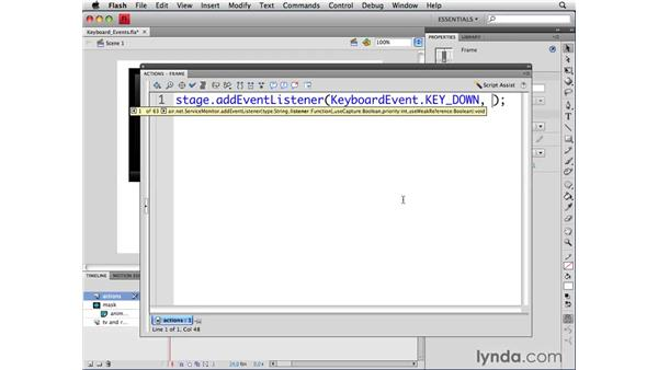 Working with keyboard events: ActionScript 3.0 in Flash CS4 Professional for Designers