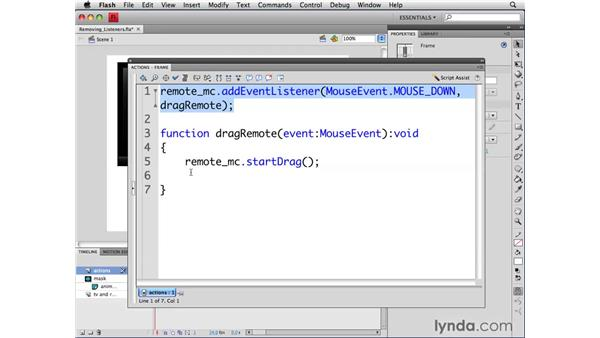 Removing event listeners: ActionScript 3.0 in Flash CS4 Professional for Designers