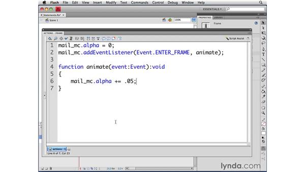Writing if statements: ActionScript 3.0 in Flash CS4 Professional for Designers