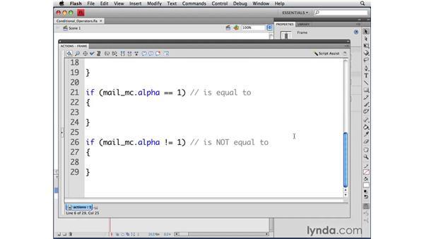 Understanding conditional operators: ActionScript 3.0 in Flash CS4 Professional for Designers