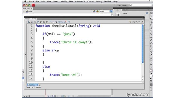 Writing else-if statements: ActionScript 3.0 in Flash CS4 Professional for Designers