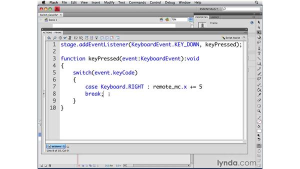 Working with switch-case statements: ActionScript 3.0 in Flash CS4 Professional for Designers