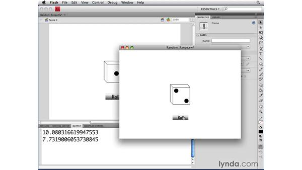 Using a range of random numbers : ActionScript 3.0 in Flash CS4 Professional for Designers
