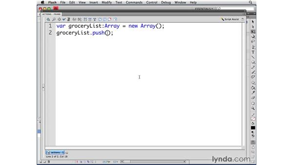 Creating an array: ActionScript 3.0 in Flash CS4 Professional for Designers