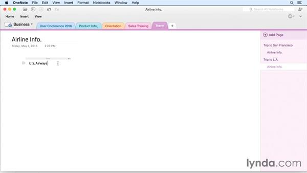 Creating a note on a page: OneNote for Mac 2011 Essential Training