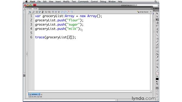 Referencing an index in an array: ActionScript 3.0 in Flash CS4 Professional for Designers