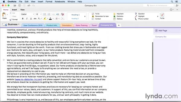 Copying and pasting content: OneNote for Mac 2011 Essential Training