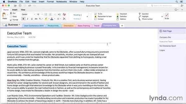 Formatting text: OneNote for Mac 2011 Essential Training