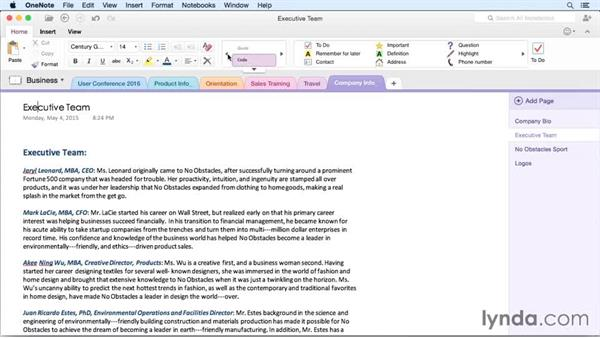 Formatting paragraphs with styles: OneNote for Mac 2011 Essential Training