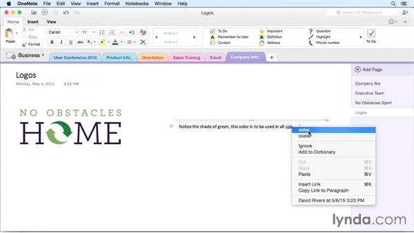 Checking spelling: OneNote for Mac 2011 Essential Training