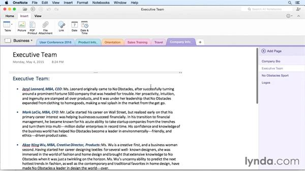 Linking notes: OneNote for Mac 2011 Essential Training