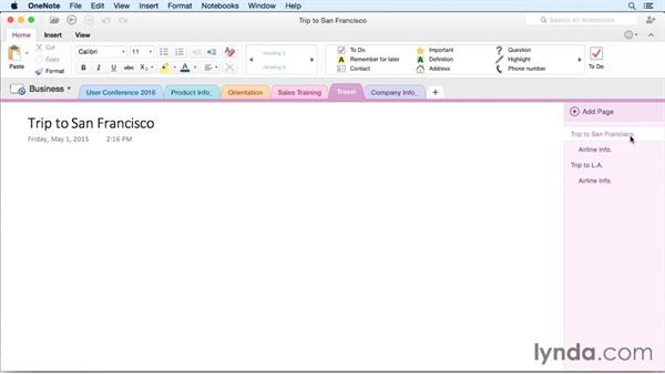 Using tags in notes: OneNote for Mac 2011 Essential Training