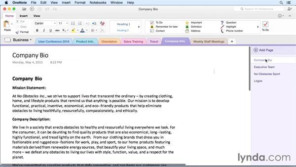 Saving to PDF: OneNote for Mac 2011 Essential Training