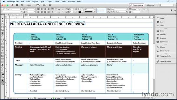 Accessing table commands: InDesign Tables in Depth
