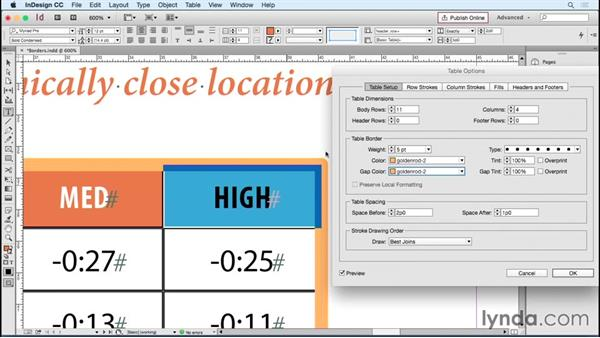 Setting table borders: InDesign Tables in Depth