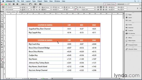 Setting header and footer rows: InDesign Tables in Depth