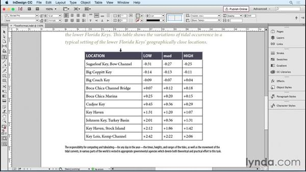 Formatting text in a cell: InDesign Tables in Depth