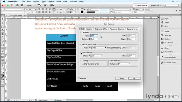 Positioning text in a cell: InDesign Tables in Depth
