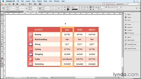 Moving rows and columns: InDesign Tables in Depth