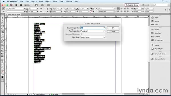 Converting lists to tables: InDesign Tables in Depth