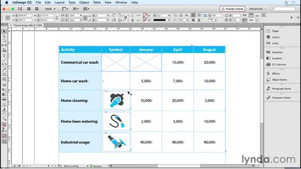 Converting cells to graphic frames and back: InDesign Tables in Depth