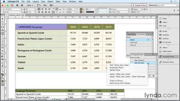 Setting up and applying text cell styles: InDesign Tables in Depth