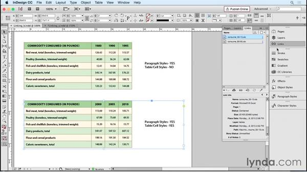 Working with linked Word and Excel documents: InDesign Tables in Depth
