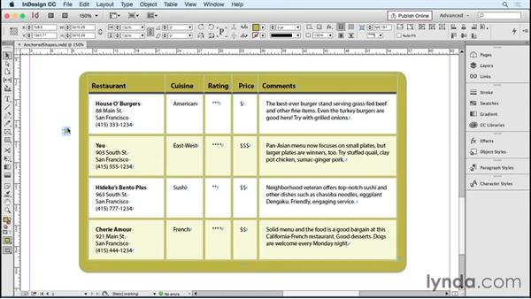 Using anchored shapes to change cell corners: InDesign Tables in Depth