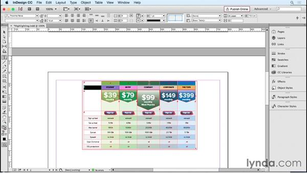 Highlighting a column: InDesign Tables in Depth